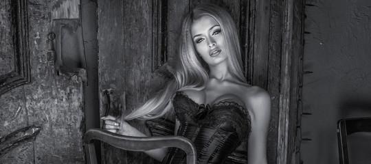 Portrait of blonde woman .