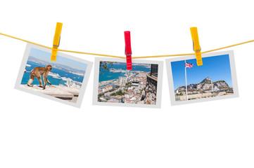 Three photos of Gibraltar on clothesline