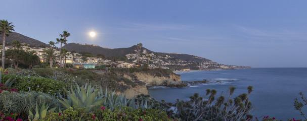 Moonrise over Laguna Beach along the coastline of Southern California