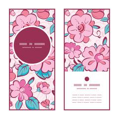Vector pink blue kimono flowers vertical round frame pattern