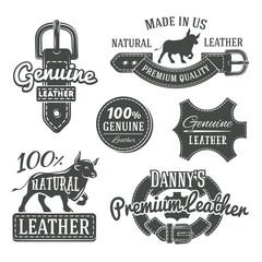 Set of vector vintage belt logo designs, retro quality labels