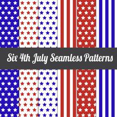Six 4th July Seamless Pattern Vector Illustration