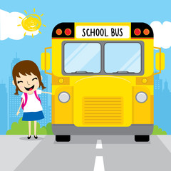 Girl student go to school by school bus in the morning kid cartoon design vector