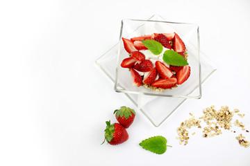 Muesli with strawberries - white background
