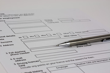 Close up of an application form