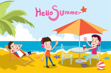 Summer holidays vector illustration,flat design beach and listening to music concept