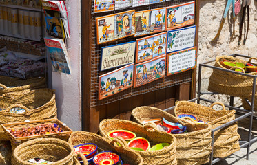 Shop with tourist gifts at old part of Besalu