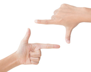 hand gesture picture frame isolated clipping path inside