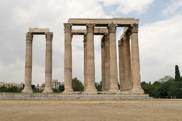 20)	Columns of the temple of zeus against a blue sky.