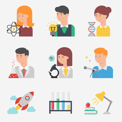 Set of flat style vector science and education icons