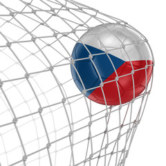 Czech soccerball in net. Image with clipping path