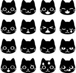 猫の顔のアイコンセット