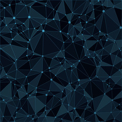 Technological black background with a pattern of triangles