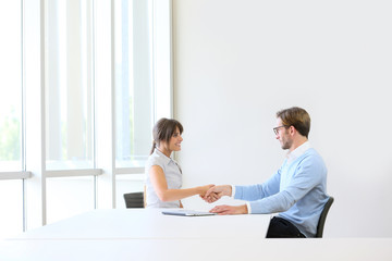 Businessman receiving candidate on job interview