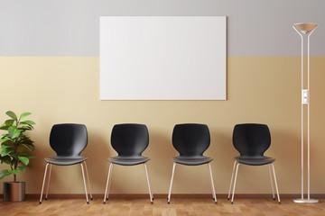 Wartezimmer mit Bilderrahmen und Stühlen