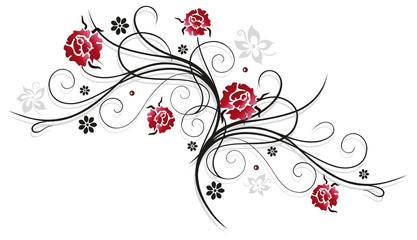 Rote Rosen mit Schnörkel