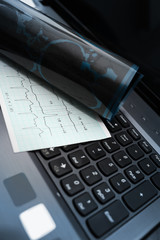 Tools of medical examination on the keyboard