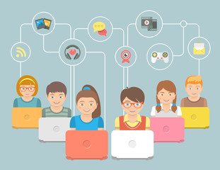 Kids with Computers and Social Media Icons Conceptual Flat Illustration