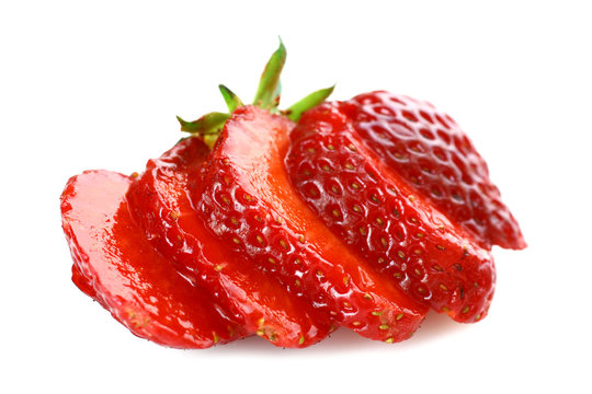 fresh strawberries in a cut isolated