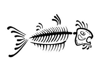 black fish bone, vector illustration