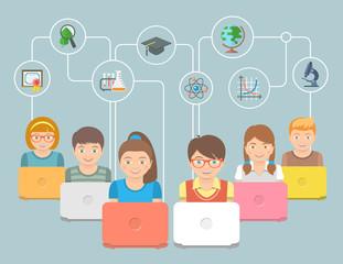 Online education Kids Flat Conceptual Illustration