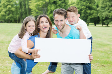 happy family with copy space board
