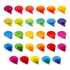 Rainbow colorful transparent chat bubbles set