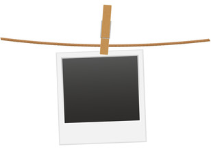 retro photo frame hanging on a rope with clothespin vector illus