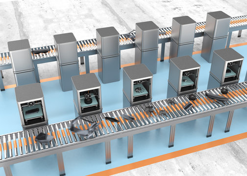 3D printers manufacturing car parts beside belt conveyor.