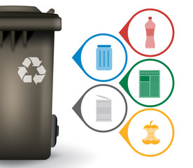 Recycle trash bin with garbage icons vector illustration