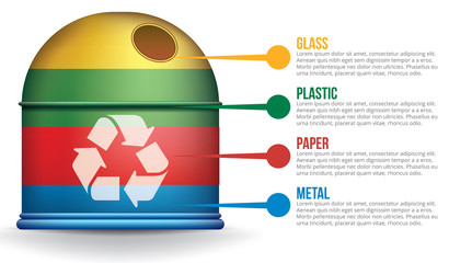 Recycle infographic with colorful trash container, vector concept