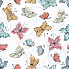 Vector seamless pattern with hand drawn butterflies and flowers. Background for use in design, web site, packing, textile, fabric