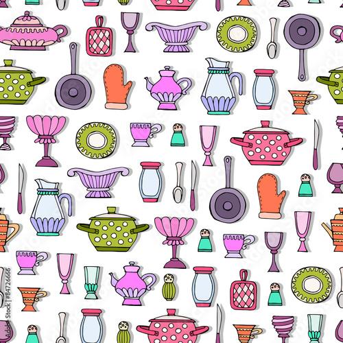 Vector seamless pattern with hand drawn kitchen utensils Background