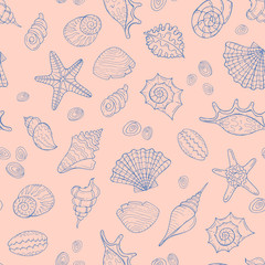 Vector seamless pattern with hand drawn sea shells on beige background. Background for use in design, web site, packing, textile, fabric