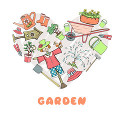 Stylized heart with hand drawn garden attributes on white background. Vector for use in design