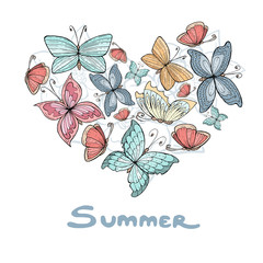 Stylized heart with hand drawn summer flowers and butterflies on white background. Vector for use in design
