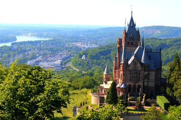 A German medieval castle and an urban view behind, Bonn Germany