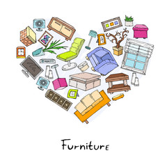 Stylized heart of hand drawn furniture and decorative elements on white background. Vector for use in design