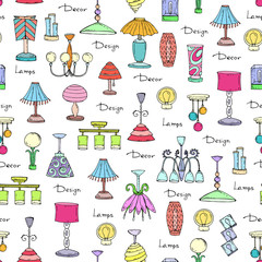 Vector seamless pattern of hand drawn lamps and chandeliers. Decorative elements for interior design. Background for use in design, web site, packing, textile, fabric