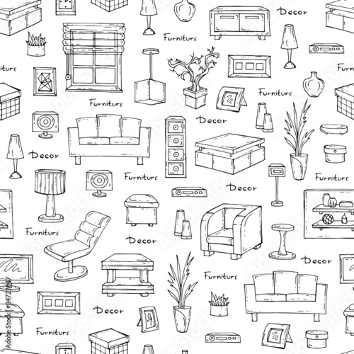 Vector Seamless Pattern Of Hand Drawn Furniture And Decorative Elements On White Background Interior Design