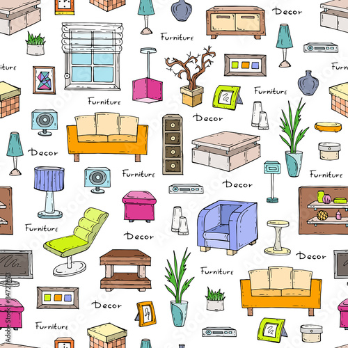 Furniture Design Background vector seamless pattern of hand drawn furniture and decorative