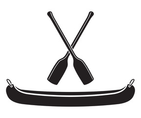 Canoe with Paddle Vector Illustration