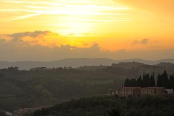 Papiers peints Campagne Toscana Sonnenuntergang