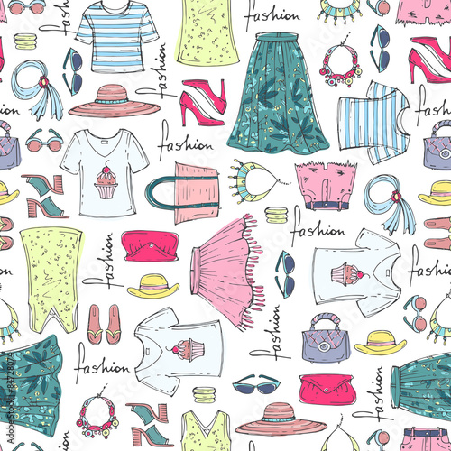 quotvector seamless pattern of hand drawn fashion collection
