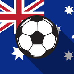 football icon with Australia flag background,long shadow vector