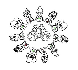 Cute cartoon business people connecting around a cog