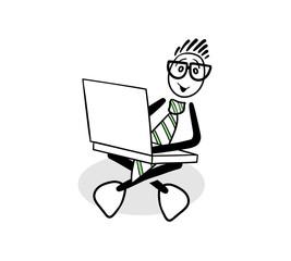 Cute cartoon businessman using laptop
