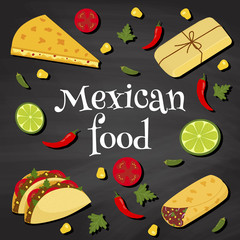 mexican food on a chalkboard