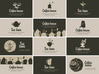 Vector Business card coffee and tea in retro