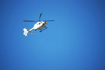Helicopter, chopper, sky, blue, Propeller, fly, heliport